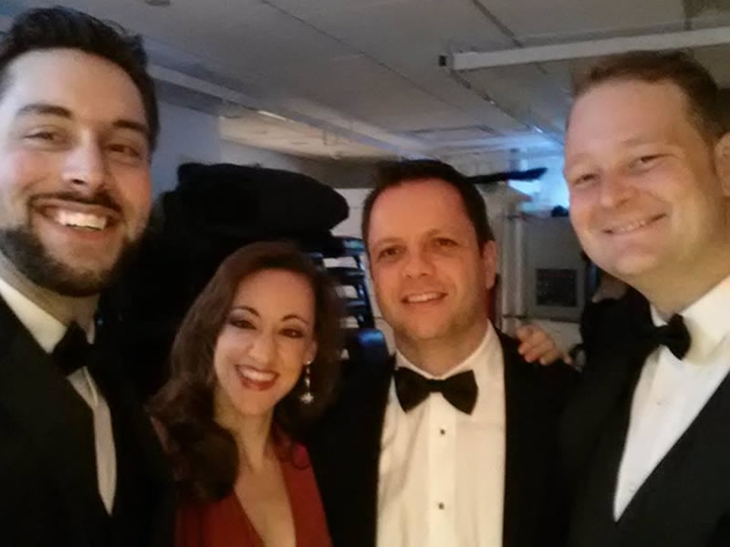 Left to right: baritone Jason Chandler Duika, mezzo-soprano Sishel Claverie, Fábio Bezuti and tenor Andrew Lunsford. Back stage before the performance at Stern Auditorium, Carnegie Hall, April 26, 2014.