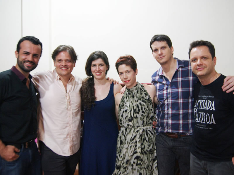 Vitória Opera Studio (VOE I), Vitória, Brazil. Left to right: producer Tarcísio Santório, Brazilian tenor Fernando Portari, stage director Lívia Sabag, Canadian pianist and coach Dr. Jocelyn Dueck, Argentinian scenographer Nicolás Boni and Fábio Bezuti. March 26 to April 07, 2014.